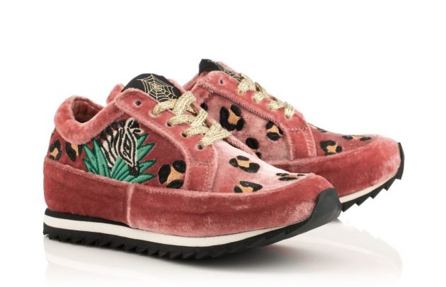 pink crushed velvet sneakers with animal print