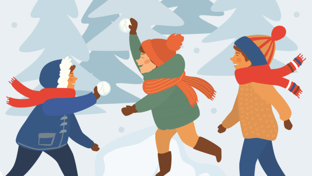 illustration of children having a snow ball fight