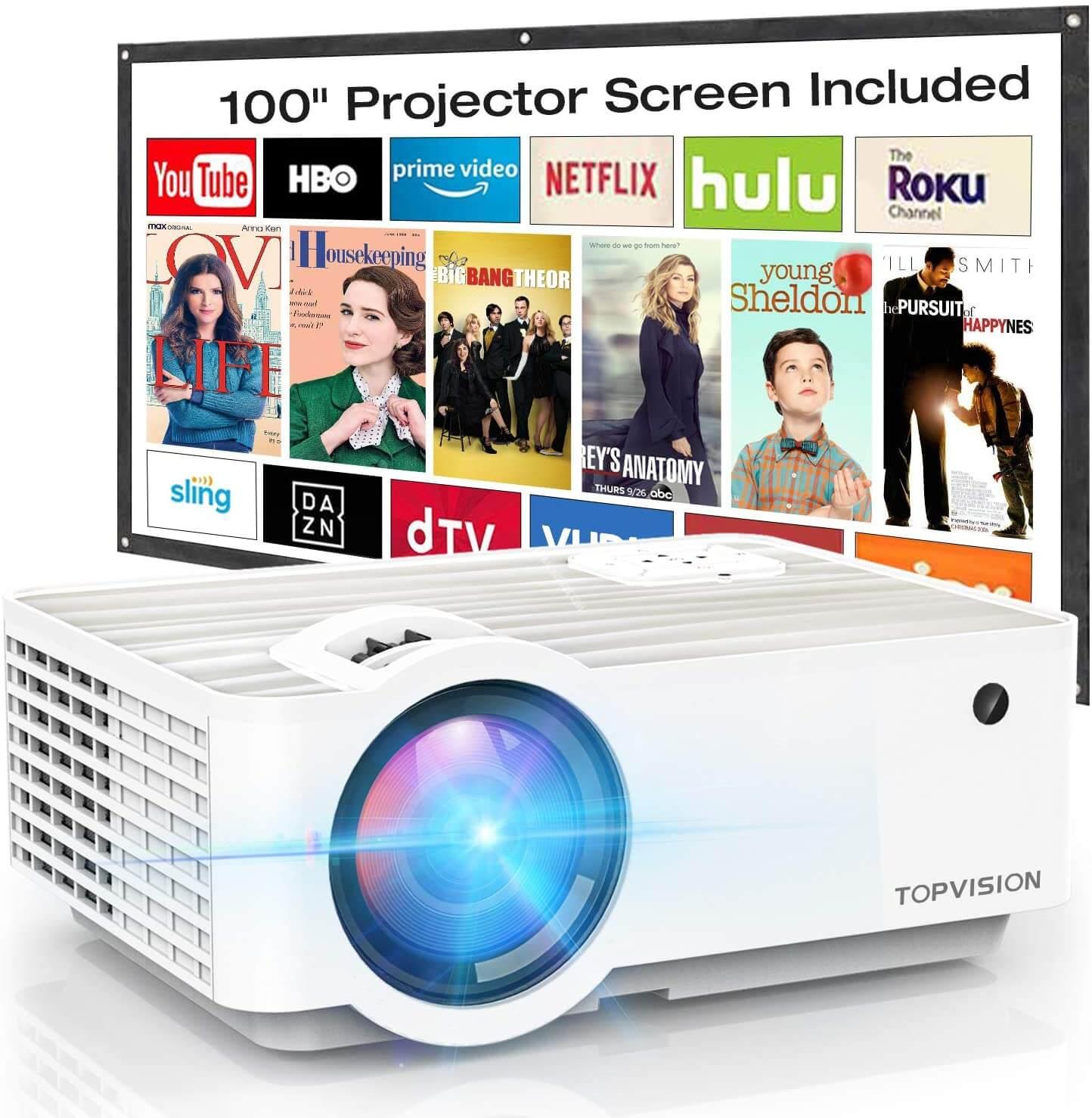 TOPVISION 5500L Portable Mini Projector - $84.99